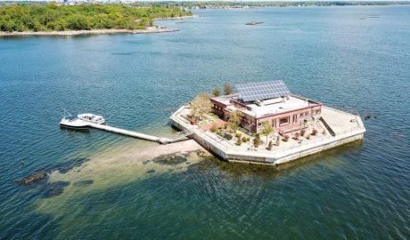 Columbia Island, a private island situated in the Long Island Sound just off New Rochelle in Westchester, New York, has gone up for sale